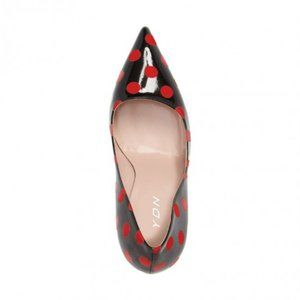 YDN Shoes - Black patent leather red polka dot high heels
